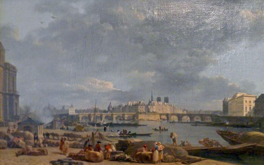 De haven van Saint-Nicolas, schilderij van Alexandre-Jean Noël (1752-1834). Deze haven, ook geheten Port du Louvre, lag bij het museum op de rechteroever van de Seine. Wikimedia Commons.