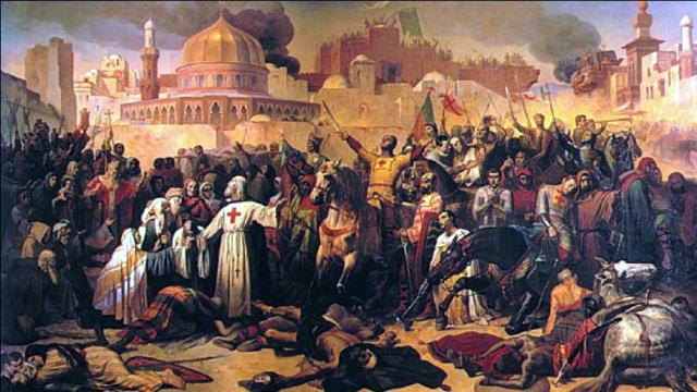 De inname van Jeruzalem door de kruisvaarders  (1099). Godfried van Bouillon dankt God in het bijzijn van Peter de Kluizenaar, een monnik die de leiding had over de eerste kruistocht, die was geïnspireerd op nepnieuws van paus Urbanus II. ( (Schilderij Emile Signolo, 1847).