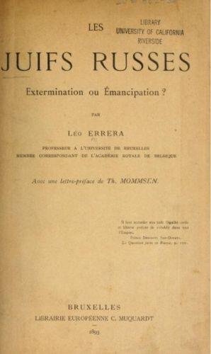 Les Juifs russes: extermination ou émancipation?