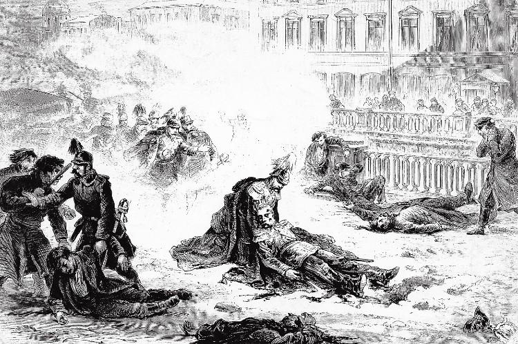 Tekening van de moordaanslag op Alexander II  in 1881