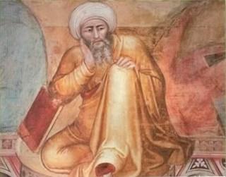 Averroës op een fresco van Andrea Bonaiuto