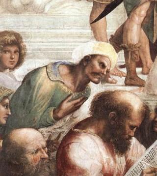 Averroës op een fresco van Raphael