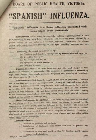 Pamflet dat in Australië werd verspreid naar aanleiding van de Spaanse Griep