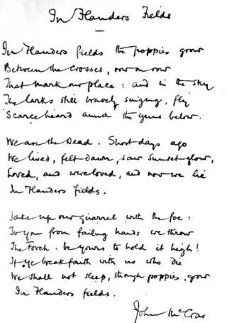 In Flanders fields, handschrift van McCrae