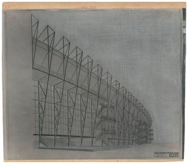 Ontwerptekening stadion De Kuip - J.A. Brinkman en L. van der Vlugt (wiki - Het Nieuwe Instituut)