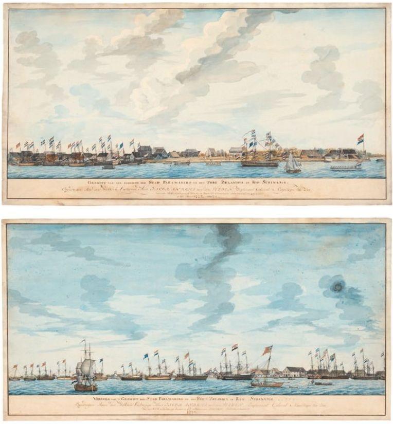 Boven: Gezicht op Paramaribo en Fort Zeelandia, 8 maart 1772 Onder: Gezicht op Paramaribo, 8 maart 1772