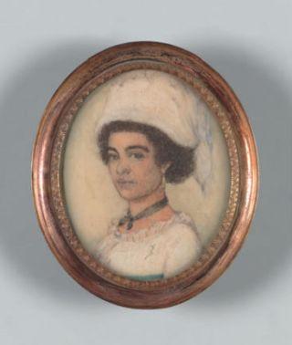 Portretmedaillon van een Surinaams meisje ca. 1805