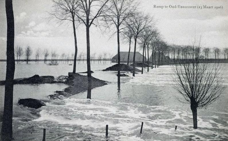 De stormvloed van 1906 zorgde ook voor overstromingen in Oud-Vossemeer.