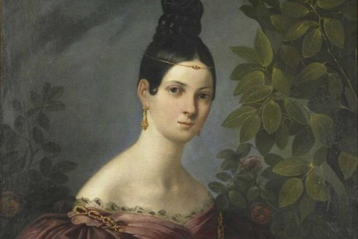 Maria Malibran op een ingekleurde gravure uit het Théâtre Italien. (Publiek Domein - wiki)