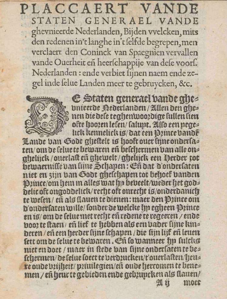 De eerste pagina van de gedrukte versie van het plakkaat (Publiek Domein - Staten-Generaal - wiki)