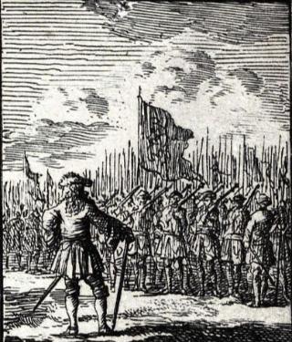 De schutterij van Den Haag, geschetst rond 1700 door Romeyn de Hooghe
