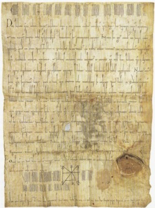 """Oorkonde met de """"stadsrechten"""" van Utrecht uit 1122 (Publiek Domein - Utrechts Archief)"""