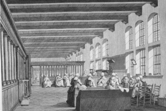 Het Spinhuis in Amsterdam aan de Oudezijds Achterburgwal in het voormalige Sint-Ursulaklooster (tekening H.P. Schouten, 1783)