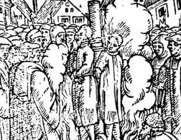 Jan van Essen en Hendrik Voes op de brandstapel (Publiek Domein - Ludwig Rabus)