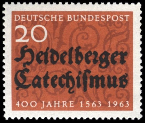 Duitse postzegel uit 1963, ter gelegenheid van 400 jaar Heidelbergse Catechismus (Publiek Domein - Deutsche Bundespost)