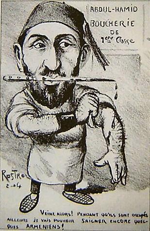 Politieke cartoon waarin Sultan Hamid wordt afgeschilderd als de slachter van Ottomaanse Armeniërs