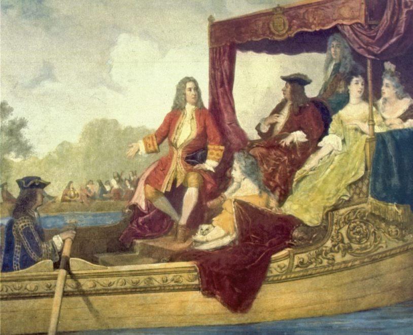 Georg Friedrich Händel en koning George I op de rivier de Thames (Edouard Hamman)