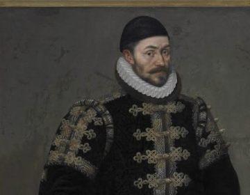 Willem van Oranje met het in 1574 verstrekte stadsrecht aan Arnemuiden. Daniël van den Queborn, 1588; museum Arnemuiden.