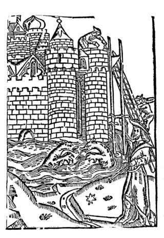 Een destijds al een paar decennia oude houtsnede die in de Divisiekroniek is gebruikt om de bouw dicht bij zee van de Brittenburg te illustreren, inclusief een zeemonster. (afb. boek)