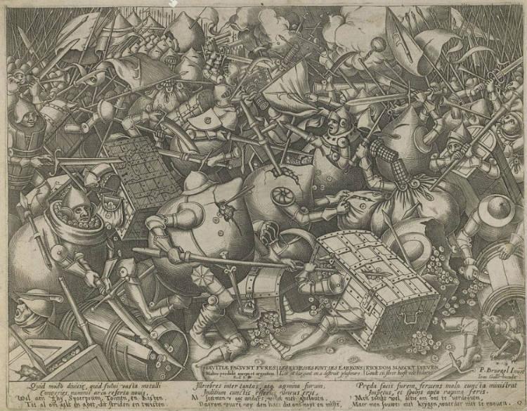 Strijd tussen de geldzakken en de geldkisten, Pieter van der Heyden (Publiek Domein - wiki)