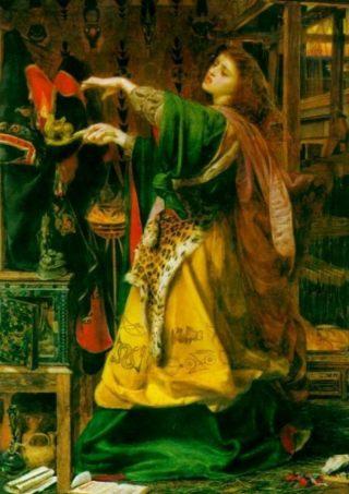 De tovenares Morgana,  halfzus van koning Arthur - Anthony Frederick Sandys (Publiek Domein - wiki)