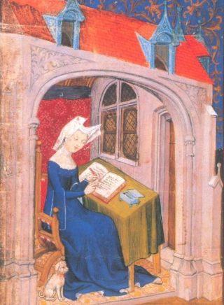 Miniatuur van Christine de Pizan, aan het werk in haar studeerkamer (Publiek Domein - wiki)