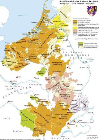 Valois-Bourgondië op haar sterkst, ±1475 (CC BY-SA 4.0 - Marco Zonali - wiki)