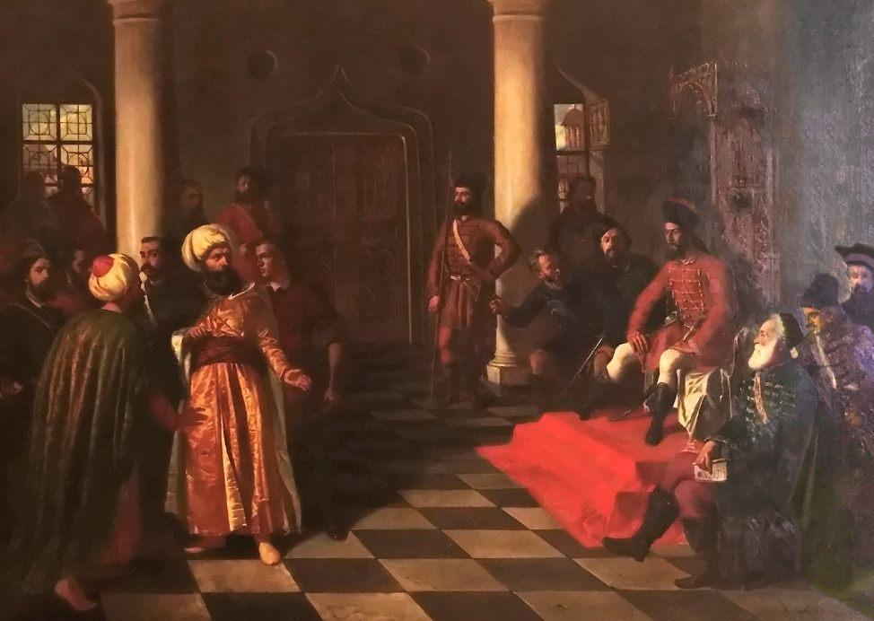 Schilderij van Theodor Aman over de bestraffing van de Turkse gezanten (Publiek Domein - wiki)