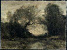 Jean Baptiste Camille Corot; The Pond at the Entrance of the Woods; 1860s; oil on fabric; 46 x 61 cm; The Cleveland Museum of Art