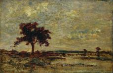 Théodore Rousseau; Leaving the Forest, Fontainebleau: Setting Sun; 1851; oil on fabric; 109.1 x 130.2 cm; The Cleveland Museum of Art