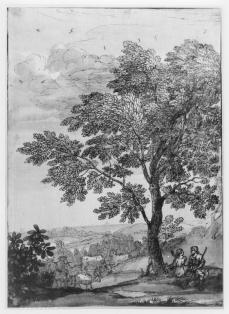 Claude Lorrain; Landscape with Herdsman and Shepherds Under Tree; British Museum