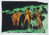 Ernst Ludwig Kirchner; Bathers Tossing Roads; 1910; color woodcut; 20 x 29 cm;