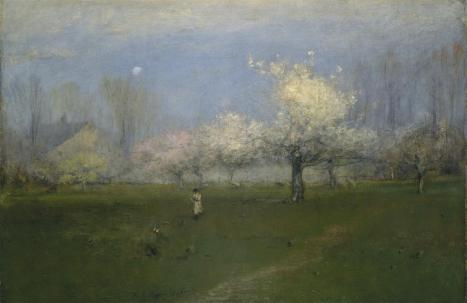 George Inness; Spring Blossoms, Montclair, New Jersey; 1891; oil and crayon or charcoal on canvas; 29 x 45.25 inches
