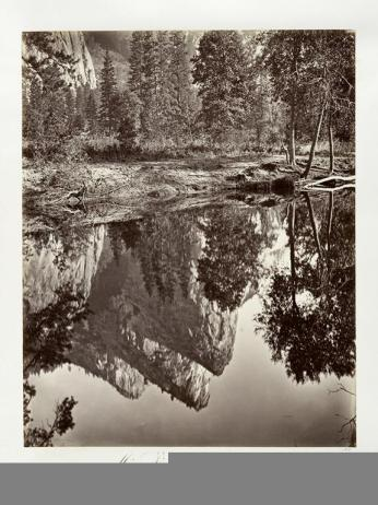 Carlton E. Watkins; Mirror View of the Three Brothers, Yosemite; c.1876; albumen silver print from glass negative; The Metropolitan Museum of Fine Art
