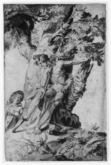 Abraham Bloemaert; Trunk of Tree with Two Figures; pen and wash; 260 x 166 mm; Victoria and Albert Museum
