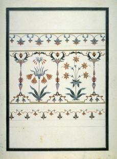 Anonymous (Asian, Indian); Study of the flora pietra dura in the Tomb of Arjumand Banu in the Taj Mahal at Agra;c.1835; transparent and opaque watercolor on paper; 28.9 x 21.9 cm; Fine Arts Museums of San Francisco