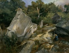 Augustin Enfantin; An Artist Painting in the Forest of Fontainebleau; c.1825