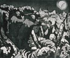 Otto Dix; At Night the Troops in the Trenches Have to Keep Firing; 1924; 24.7 x 30 cm