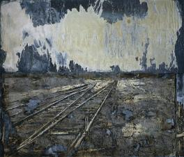 Anselm Kiefer; Lot's Wife (Lots Frau); 1989; oil paint, ash, stucco, chalk, linseed oil, polymere emulsion, salt and applied elements, on canvas, attached to lead foil, on plywood panels; 350 x 410 cm; The Cleveland Museum of Art