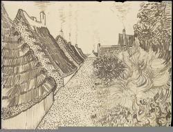 Vincent van Gogh; Steet in Saintes-Maries-de-la-Mer; c.1888; reed pe, quill, and ink over chalk on wove paper; 24.3 x 31.7 cm; The Metropolitan Museum of Art