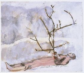 Anselm Kiefer; Man Lying with Branch (Liegender Mann kit Zweig); 1971; watercolor, gouache, and graphite pencil on paper; 23.8 x 27.3 cm