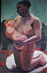 Paula Modersohn-Becker; Kneeling Mother and Child; 1907; oil on canvas; 113 x 74 cm