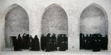 Shirin Neshat; Soliloquy Series (Veiled Woman in 3 Arches); 1999; gelatin silver print; 11.5 x 22 inches