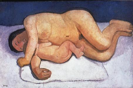 Paula Modersohn-Becker; Reclining Mother & Child; 1906; oil on canvas; 82 x 124.7 cm