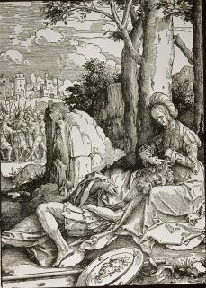 "Lucas van Leyden; Power of Women Series, ""Samson and Delilah""; 1513; woodcut"