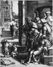 Lucas van Leyden; The Poet Virgil Suspended in a Basket; 1525; engraving