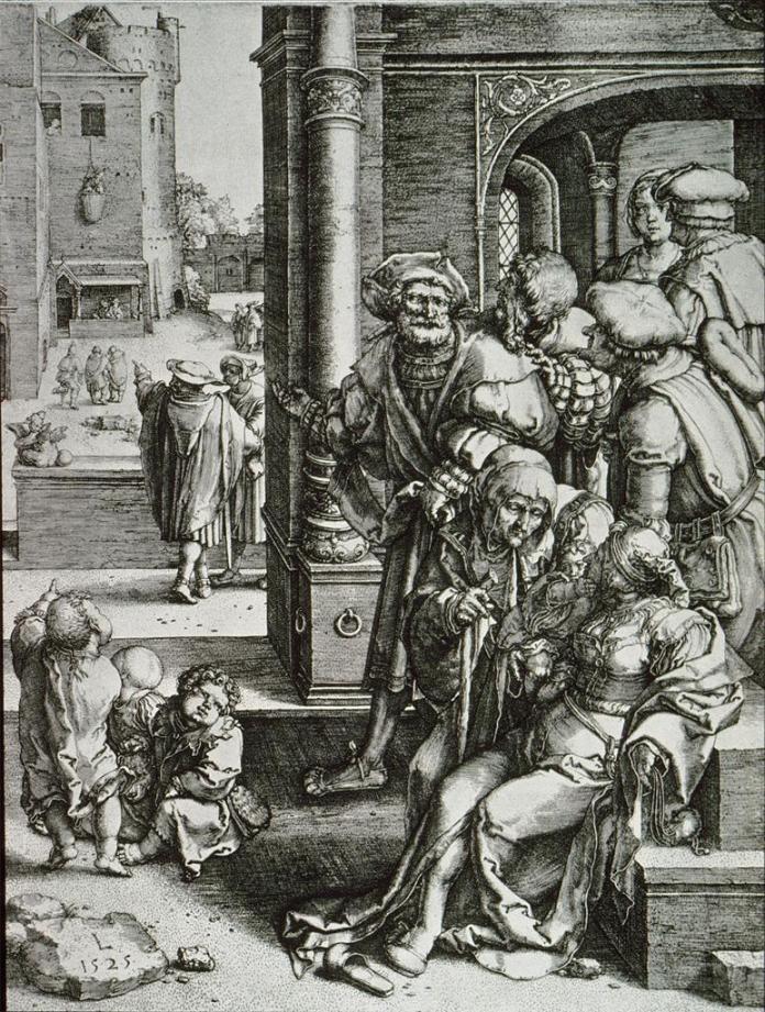 Lucas van Leyden; Virgil Suspended In a Basket; engraving; 1525