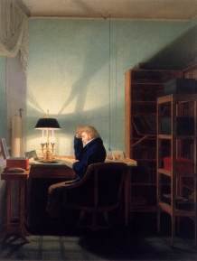 Georg Friedrich Kersting, Man Reading at Lamplight 1814, Winterthur