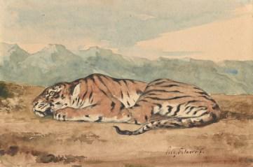 """Royal Tiger,"""" by Ferdinand-Eugène-Victor Delacroix, circa 1800s copy"""