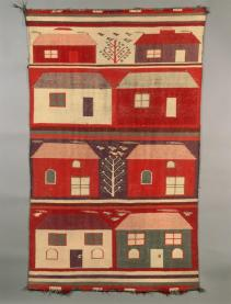 Navajo, Germantown pictorial rug with four bands, each with two houses in various colors, Woven Rug, Transition Period; Early Rug Period, 1902, Albuquerque Bernalillo County New Mexico, Wool, 129 cm x 79.5 cm, Peabody Museum of Archaeology and Ethnology